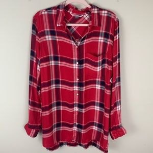 Old Navy The Classic Shirt Red Plaid Button Down